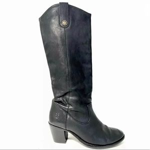 Frye Jackie Button Black Leather Knee High Boots